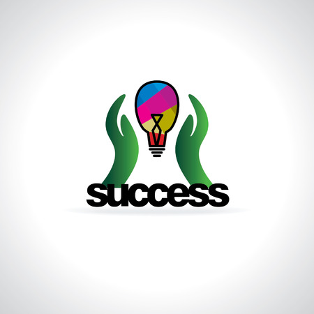 success concept: success concept idea with hand and bulb Illustration