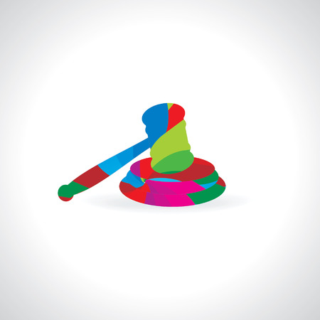 judgement day: colorful abstract auction hammer vector