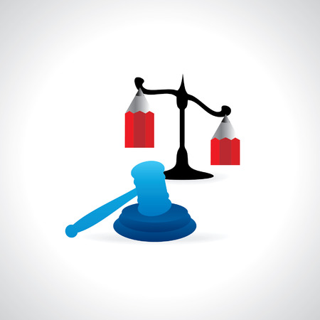 prosecute: creative gavel with scale created with pencil