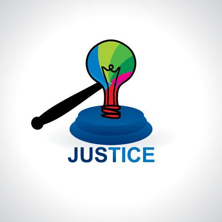 atrocity: creative idea with bulb gavel vector Illustration
