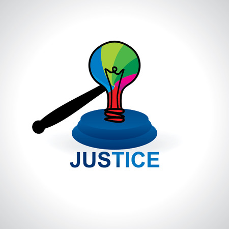 judgement day: creative idea with bulb gavel vector Illustration