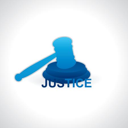 judgement day: gavel blue color vector Illustration
