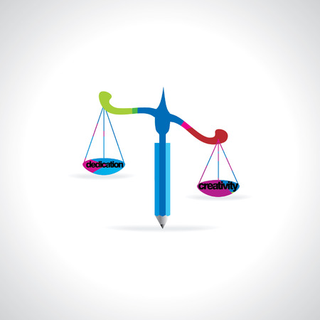 judgement day: scale created with pencil vector dedication creativity concept