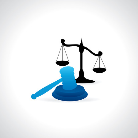judgement day: gavel with justice scale vector Illustration