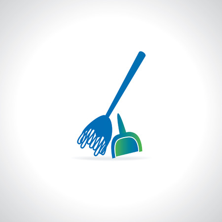 electric broom: broom cleaning concept vector Illustration