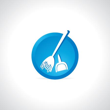 dustpan: broom cleaning concept Illustration