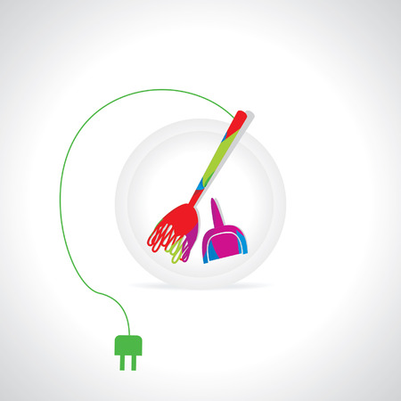 electric broom: broom connecting electric concept