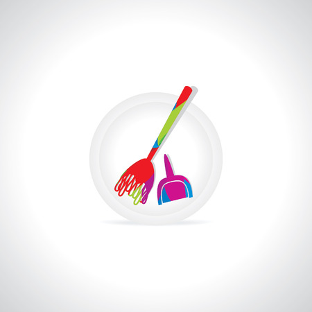 electric broom: colorful broom cleaning concept