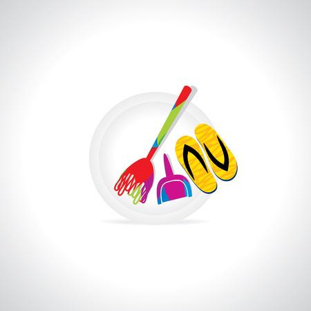 electric broom: creative broom and sleeper vector Illustration