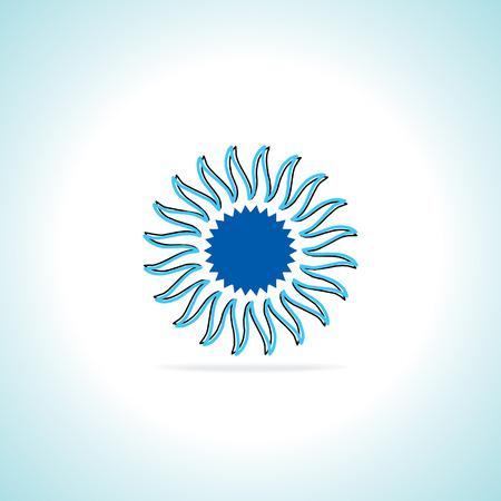 tourism logo: creative sun over white background