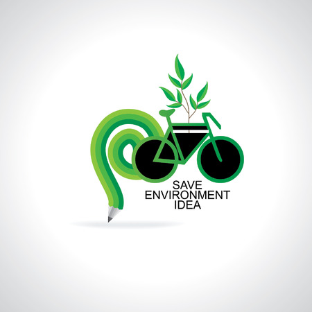 save the environment: bicycle with bulb save environment idea