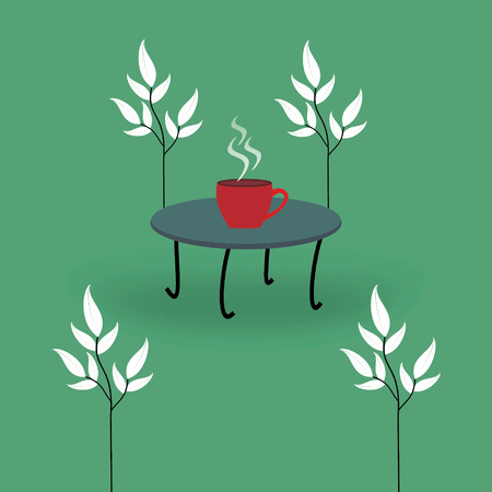 coffee table: coffee table with cup and leaf vector Illustration