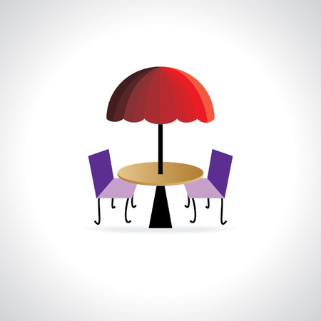 outdoor dining: creative coffee table with umbrella