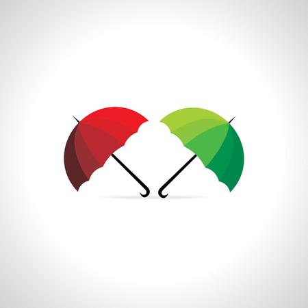 red' green: creative umbrella red green vector