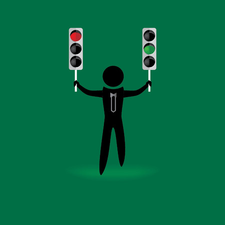 peoples: peoples holding traffic signal red and green