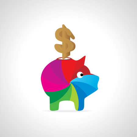 rupees: dollar symbol inside of pig bank