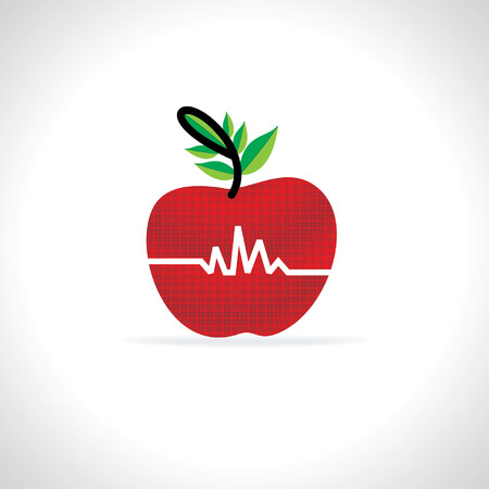 beat: apple with hearth beat vector