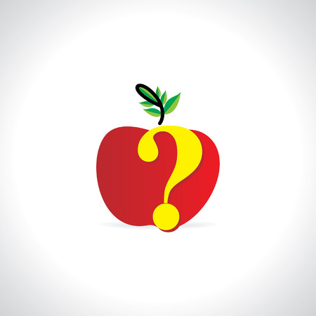 questionably: apple with question mark health concept Illustration
