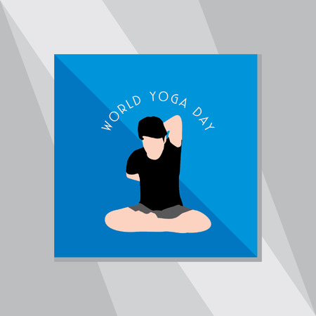 yoga outside: yoga pose over blue background