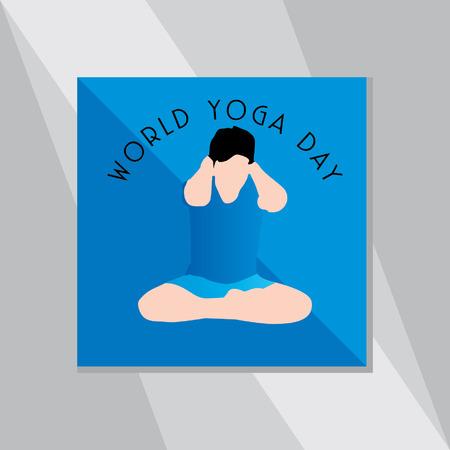 yoga outside: yoga posture over blue background