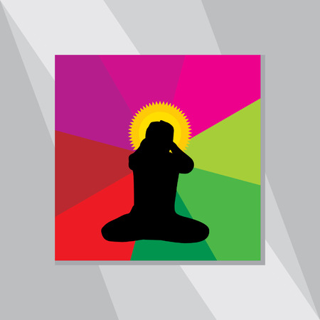 yoga outside: yoga posture over colorful background