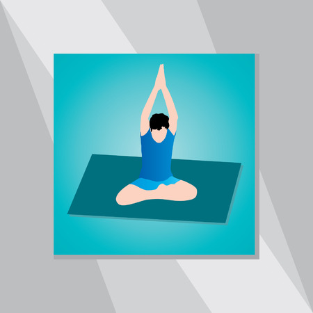 yoga posture over green background