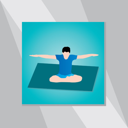 physical exercise: yoga posture over green background