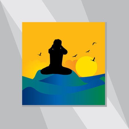 yoga outside: yoga posture vector