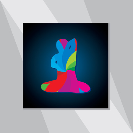 mendie: colorful yoga posture over blue black background