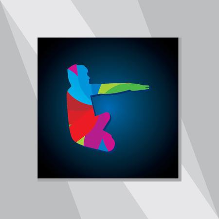 yoga outside: colorful yoga posture over blue black background