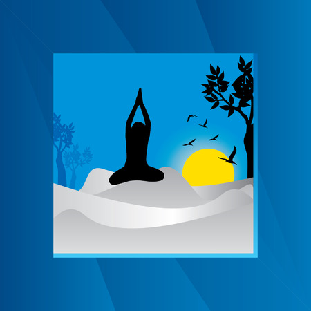 mendie: yoga posture over blue background