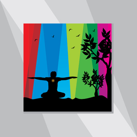 yoga posture over abstract background Illustration