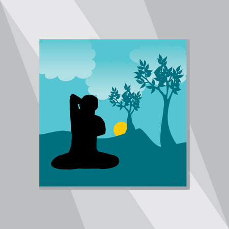 mendie: yoga posture vector with environment landscape Illustration