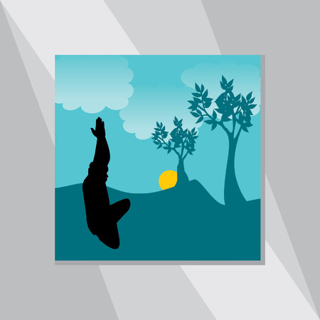 yoga outside: yoga posture vector with environment landscape Illustration