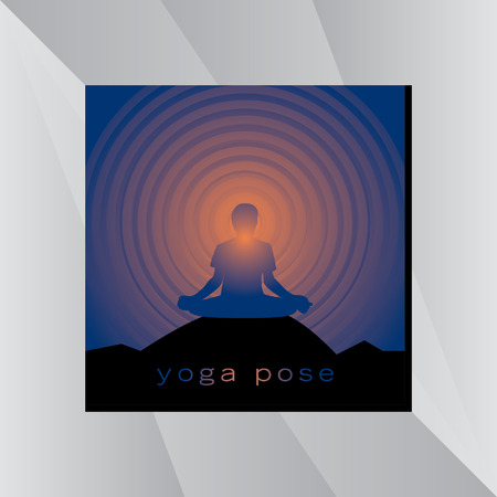 yoga outside: yoga posture over sunset background