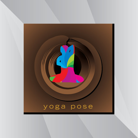 abstract yoga posture over golden black background