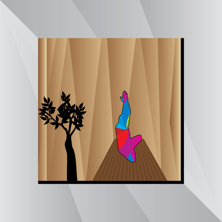 abstract yoga posture over golden background Illustration