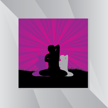 yoga outside: yoga posture over purple  background Illustration
