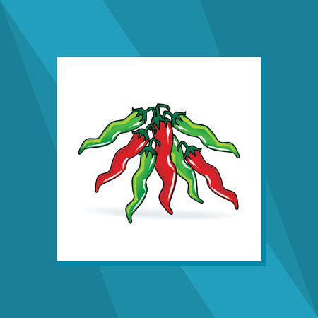 pungent: green red chili vector