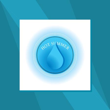 hot summer: verano caliente con el vector de la gota de agua Vectores