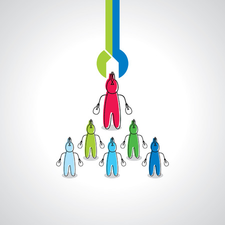 peoples: many peoples choosing with spanner Illustration