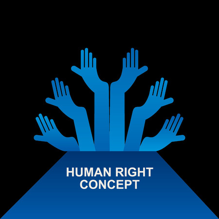 hands holding earth: human rights concept vector Illustration