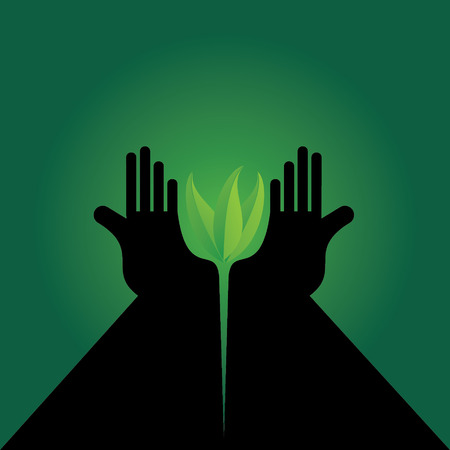caring hands: hands caring green leaf vector