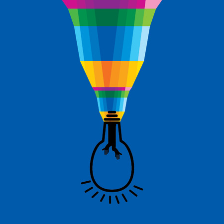 connecting: colorful brush connecting bulb Illustration