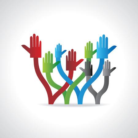 onwards: colorful hands teamwork concept Illustration