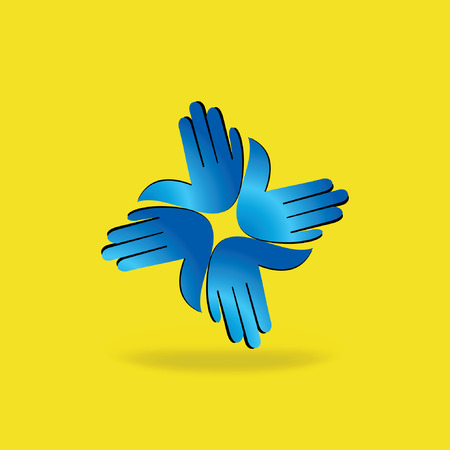 four hands: four hands teamwork symbol