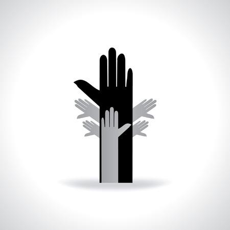 many hands human rights icon Ilustração