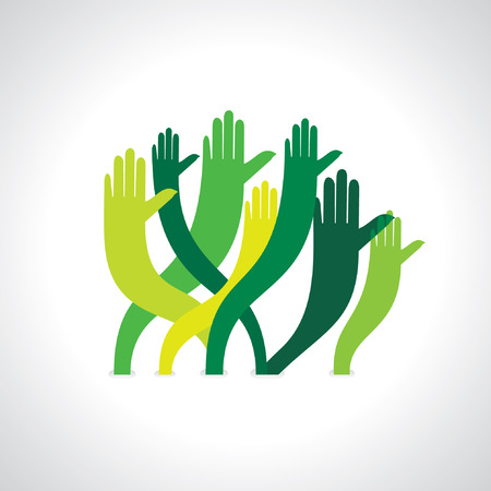 many hands with save green concept