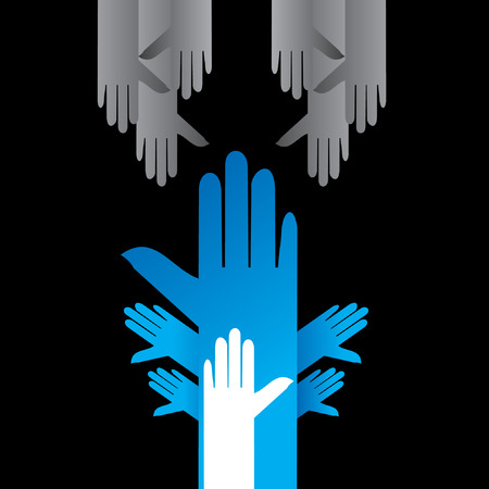 human right: many hands with human right concept Illustration
