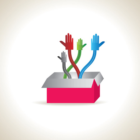 onwards: four colorful standing hands with box